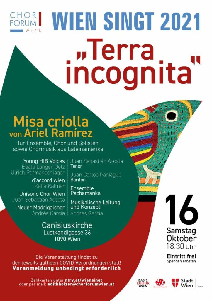 """Werbeplakat des Konzerts """"Terra Incognita"""" von """"Wien singt 2021"""", einem Kooperationsprojekt des Chorforum Wien mit Young HIB Voices, d'accord wien, Unisono Chor Wien und Neuer Madrigalchor."""